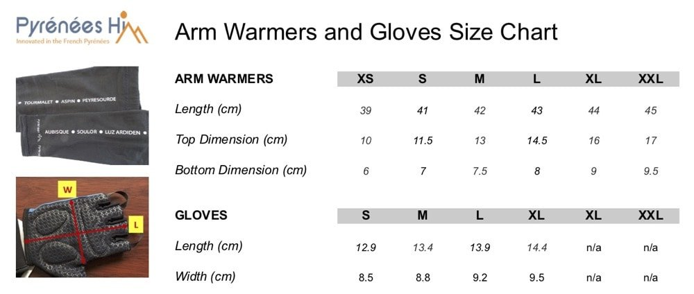 Arm Warmers and Gloves Size Charts