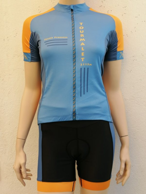 Ladies Tourmalet Blue and Orange Jersey and Shorts 1