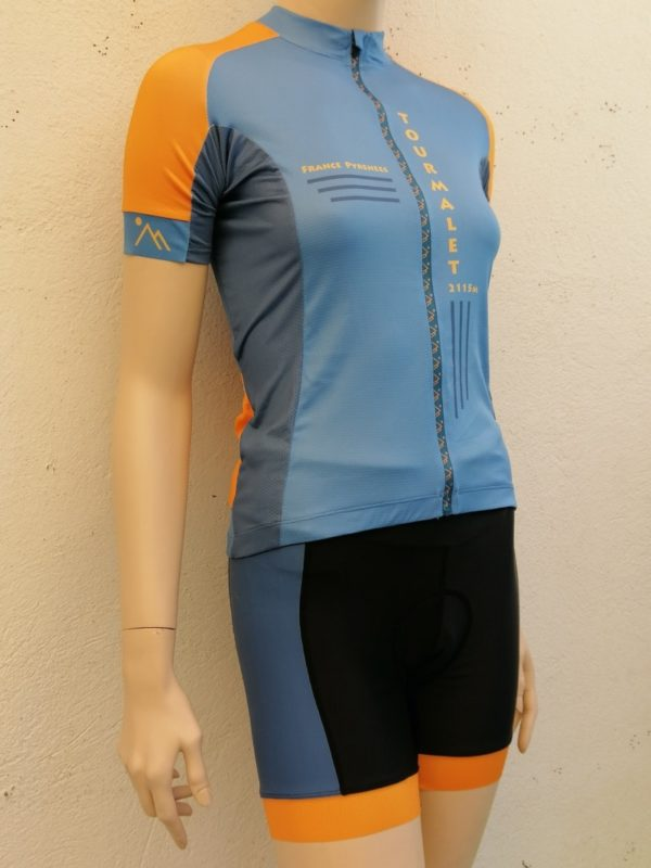 Ladies Tourmalet Blue and Orange Jersey and Shorts 2