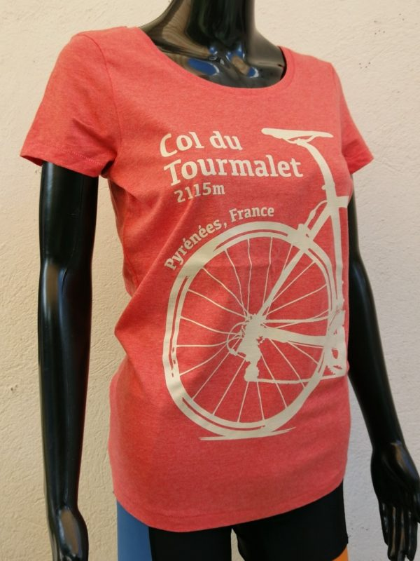 Ladies Tourmalet Tee Heather Red 3/4 Front
