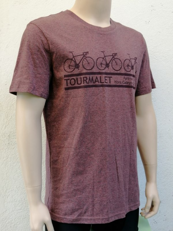 Mens 3 Bike Tee Cranberry 3/4 Front